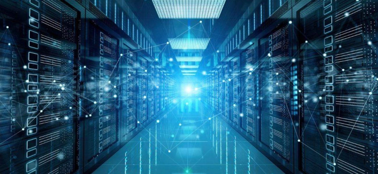 Connection network in dark servers data center room storage systems 3D rendering